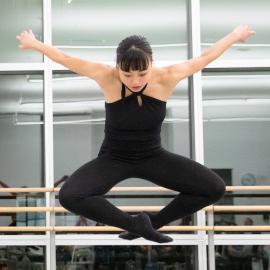 Misaki Hayama leaping during an Open Rehearsal